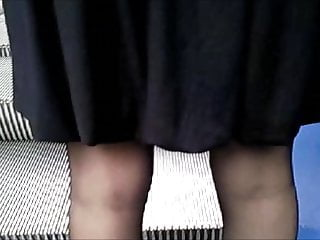 Upskirt with black stockings and thong