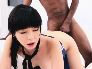 Asian cunt gets filled with black meat