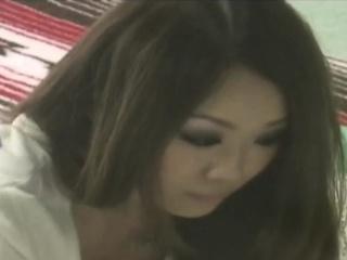Asian beauty masturbates