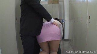 Hana Haruna is a lovely Asian babe deep throating cock
