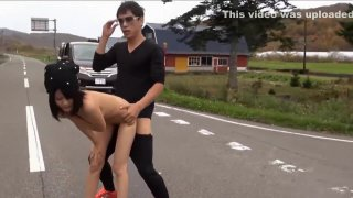 two volley out and dull and cute Dosanko Hairless beauty outdoors in