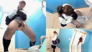 Asian teen piss in toilet