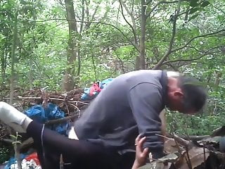 Asian Dad Doing Bareback In The Woods With Younger Prostitut