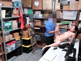 Two girls in the office and men blowjob LP officer rushed
