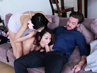 Horny chiccs sucking their sugar daddys hard meat
