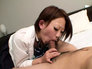 Uncensored JAV blowjob and raw sex by bad schoolgirl