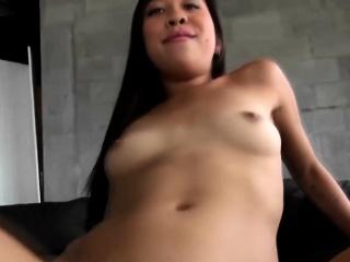 Slutty Asian schoolgirl sucks lover's dick